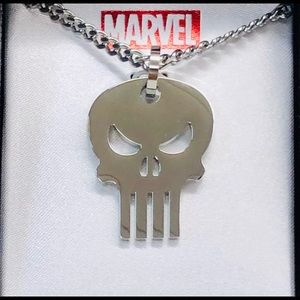 Punisher stainless steel skull necklace